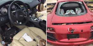 wife smashed audi r8