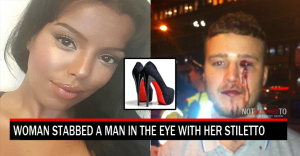 woman hits man with shoe